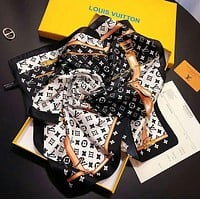 Louis Vuitton LV Fashionable Women Luxury Silk Scarf Silk Cape Scarf Scarves