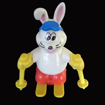 Vintage Tomy Wind-Up Skiing Rabbit Toy Bunny