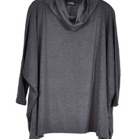 Flowy Turtleneck Top - Grey