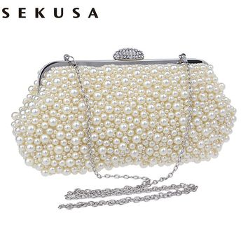 SEKUSA evening bags crystal small women bag cross body clutch bags and purses beaded diamond  evening bags for  party wedding