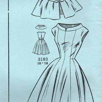 Clotilde 1950s Vintage Sewing Pattern 3183 Mail Order Rockabilly Style Tea Garden Swing Dress Cape Shawl Full Skirt Uncut Bust 36