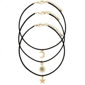 CREYV9O 3 Pcs Sets Star Moon Sun Chokers Necklaces Pendants necklace