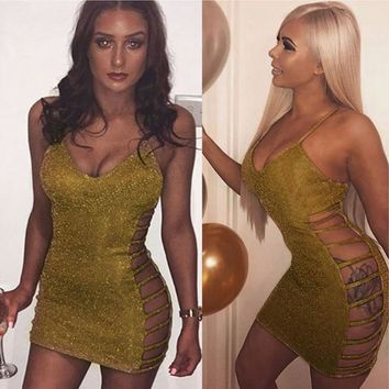 Summer Sexy Ladies Short Mini Dress Bandage Bodycon Gold Blink Casual Hollow Out Women Dresses Sleeveless Strappy Party