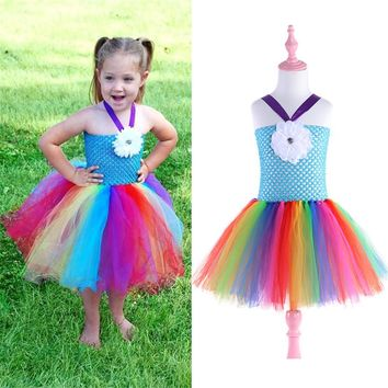 Candy Rainbow Girls Unicorn Dress Tulle Tutu Dress Princess Prom Dance Dress Flower Girl Wedding Dresses Birthday Vestidos