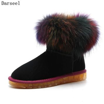 Darseel 43 Plus Size Real Mink Fur Boots Women Fashion Winter Warm Snow Boots Ladies Flat Genuine Leather Booties Ankle Length
