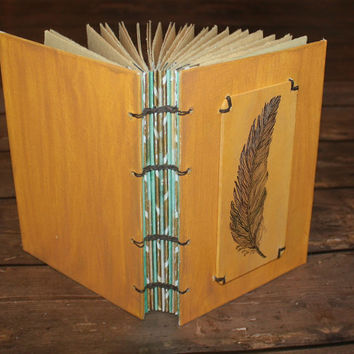 Feather Pen and Ink Original Art Work Journal - Rustic Guest Book - Wedding- Gift