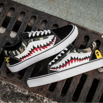 DCCKBWS Vans Bape Aape Shark Old Skool Custom Shark tooth Low Sneakers Convas Casual Shoes I-F