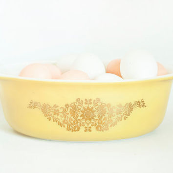 "Vintage PROMO Pyrex Oval Baking Dish, Uncommon ""Golden Garland"" Pattern Gold and Yellow Flower Casserole, 1 1/2 QT, 043"