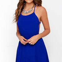 Flare for You Royal Blue Backless Dress