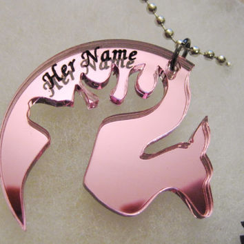 Engraved browning inspired his hers buck doe deer head hunting promise necklace pendant pair set of 2 pink black with free vinyl decal