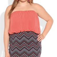 Plus Size Strapless Blouson Dress with Tribal Print Skirt