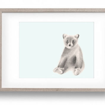 Baby Bear Cub Art, Baby Boy Nursery, Woodland Animal Art Print, Blue Nursery Decor, Animal Print, Childrens Wall Decor, Baby Animal Art