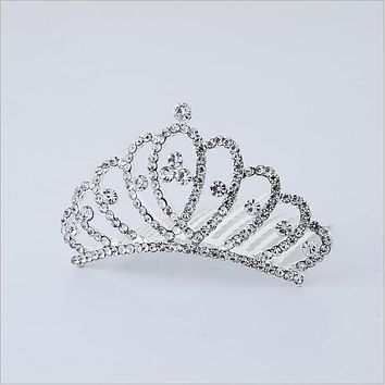 Princess Crown Flower Girls Hair Accessories Headwear Gum for Children Kids Head Tiara Hair Combs kk1702