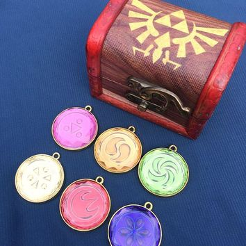 Legend of Zelda Ocarina of Time Medallions keychain necklace Pendant Cosplay Collection  accessoriesKawaii Pokemon go  AT_89_9