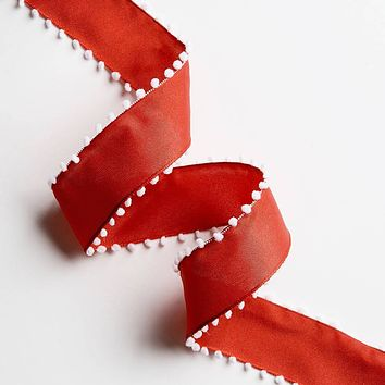 Red with White Pom Poms Ribbon