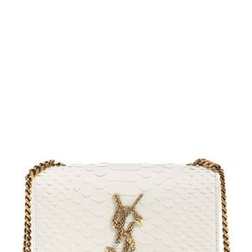 yves saint laurent small monogram - serpent fringe suede crossbody bag