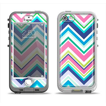 The Vibrant Colored Chevron Pattern V3 Apple iPhone 5-5s LifeProof Nuud Case Skin Set