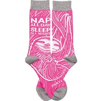 Nap All Day, Sleep All Night, Party Never SLOTH SOCKS in Pink
