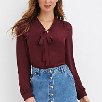 Solid Loose Chiffon Shirt With Bow Tie