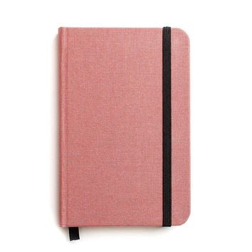 Small Hard Cover Linen Journal Salmon Pink