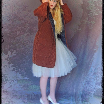 Large velvet duffle jacket / huge vintage fx suede rustic russet earthy quilted hooded coat / soft and warm
