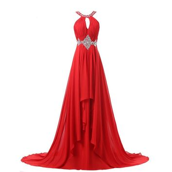 Long Red Evening Dress Grace Karin Sequins Chiffon Evening Gowns Backless Elegant Formal Dresses