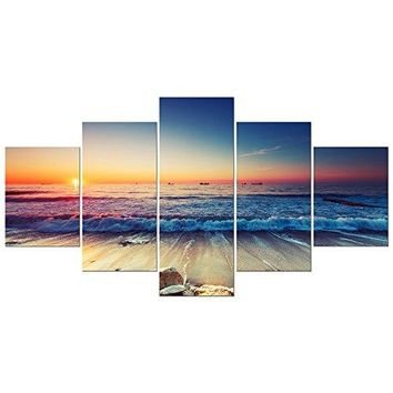 Pyradecor 5 Piece Large Modern Seascape Artwork Gallery Wrapped Ocean Sea Beach Pictures Giclee Canvas Prints Waves Paintings on Canvas Wall Art for Living Room Bedroom Home Decorations L