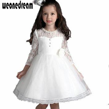 WEONEDREAM Ball Gown White Flower Girl Dresses For Weddings First Communion Dresses Pearl Pageant Dresses For Kids 2017