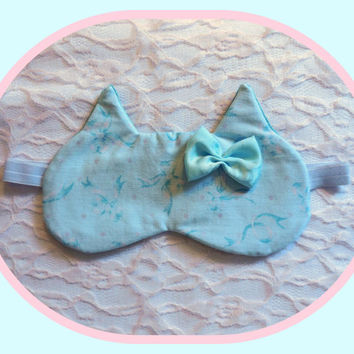 Sleep Mask with Silky Bow - Pastel Blue Cat Ears Eye - Comfortable Velour - Cotton - Soft - Adorable - Women - Teen Girl - Bow Print Glitter
