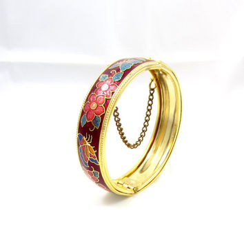 Vintage Cloisonne gold tone  bracelet enamel flowers butterflies red blue with clasp and chain bangle design vintage jewelry Asian Chinese
