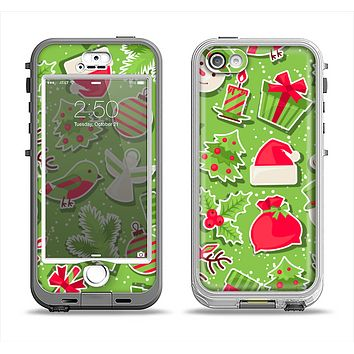 The Red and Green Christmas Icons Apple iPhone 5-5s LifeProof Nuud Case Skin Set