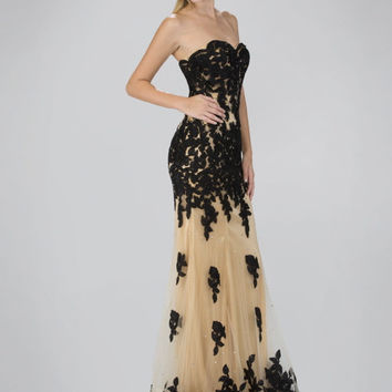 G2005 Black/Gold Lace Applique Prom Pageant Dress Evening Gown