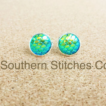 SALE Earrings Green Mermaid Dragon Fish Scales Stud Earrings Boho Jewelry 12MM