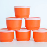Vintage Bright Orange Tupperware Snack Containers with Lids, Travel Size Mini Storage Jars (Set of 6), 1229
