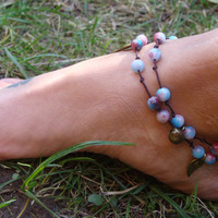 Beaded anklet, wrap anklet, 2 IN 1, wrap anklet or wrap bracelet, leaf charms, jiggle bells, boho anklet, Jade beads