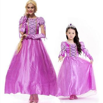 princess Rapunzel Halloween sexy M-XL Women Adult Child party Costume Cosplay fancy dress+gloves carnival Dress