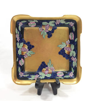 Pickard Hand Painted Dish, Antique Enamels Pattern, Hand Painted Porcelain, Gold with Blue Green Pink, Signed Tolpin, 1912-1918,