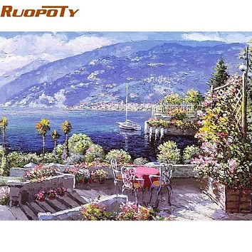 RUOPOTY Seascape Gardan DIY Painting By Numbers Wall Art Picture Modern Canvas Acrylic Painting For Home Decor Artwork 40x50cm