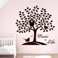 Wall Decals Music is Life Quote Musical Notes Tree Bird Nesting Box Decal Vinyl Sticker Home Decor Nursery Bedroom Dorm Living Room MN379