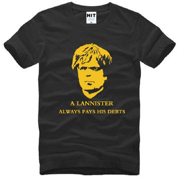 Game of Thrones T Shirts Men Cotton Short Sleeve A Lannister Always Pays His Debts Printed Men's T-Shirt Tyrion Lannister Tees