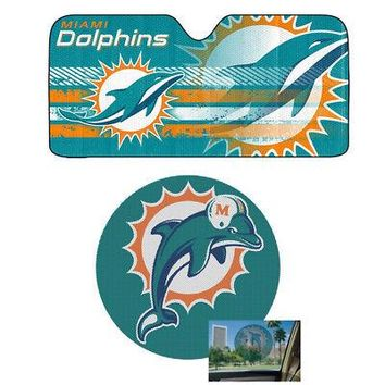 Licensed Official NFL Miami Dolphins Car Truck Windshield Folding SunShade & Perforated Decal