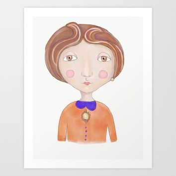 Orange Lady Art Print by Natalia Lampropoulou