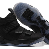 qiyif Nike Zoom Air Men's Lebron Soldier 11 Basketball Shoes All Black 40-46