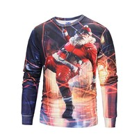 Autumn and winter Santa digital printing 3D sweater plus cashmere men
