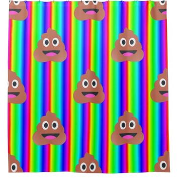 rainbow poop emoji bathroom shower curtain