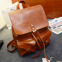 School Buckle Leather Schoolbags Backpacks
