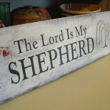 Large Primitive The Lord is my Shepherd HP by BarnDanceTradingCo