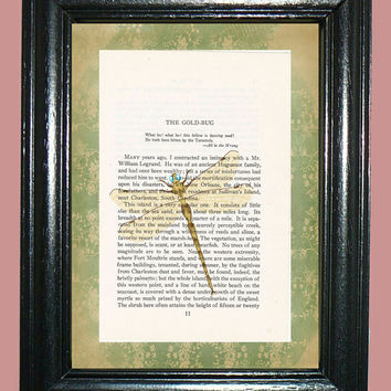 Pale Cream Dragonfly Novel Book Page Art - Edgar Allan Poe Story Page Upcycled Page Art Home Decor Collage Art Print