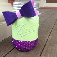 Green Painted Mason Jar with Purple Glitter
