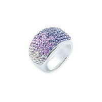 Sterling Silver White and Tanzanite Crystal Ring
